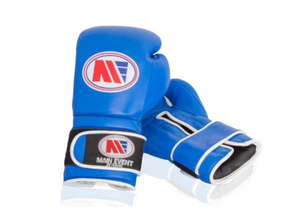 Main Event Boxing Childrens Kids Leather Training Gloves - Blue