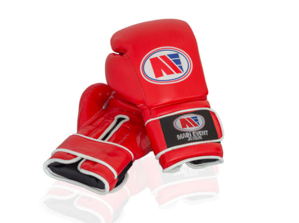 Main Event Boxing Childrens Kids Leather Training Gloves  - Red