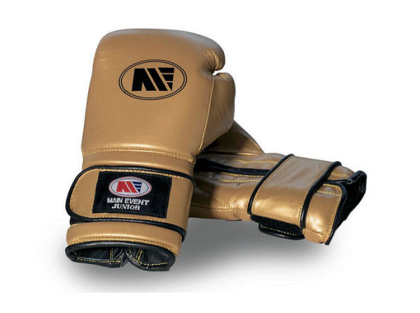 Main Event Boxing Childrens Kids Leather Training Gloves  - Gold