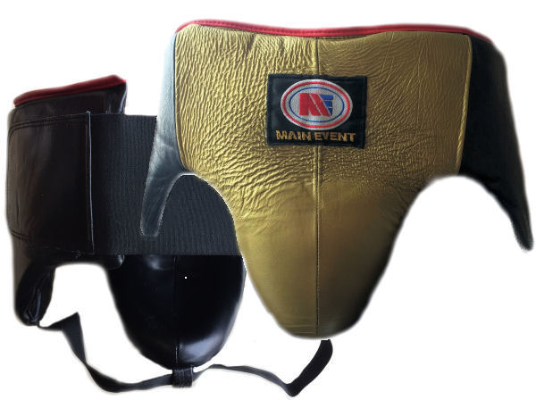 Main Event Pro Gel Groin Guard Kidney Protector Gold Black