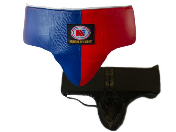 Main Event Boxing Pro Leather Groin Guard Protector Blue Red