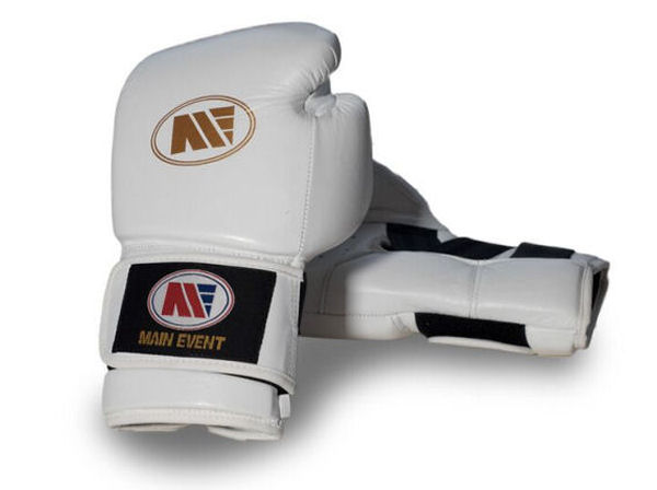 Main Event Titanium Hook Loop Pro Spar Boxing Gloves White Gold