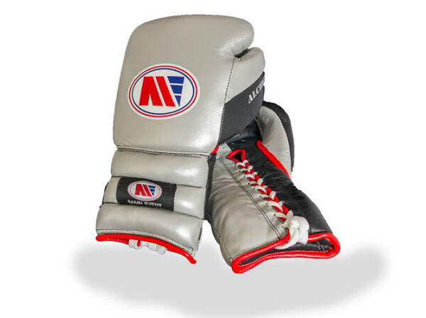 Main Event Alchemy Pro Spar Boxing Gloves Silver and Black Laces