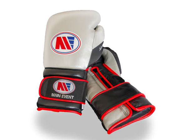 Main Event Alchemy Pro Spar Gloves Silver and Black - Velcro