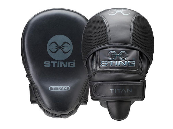 Sting Boxing Titan Leather Geo Gel Focus Pads Mitts Black Silver