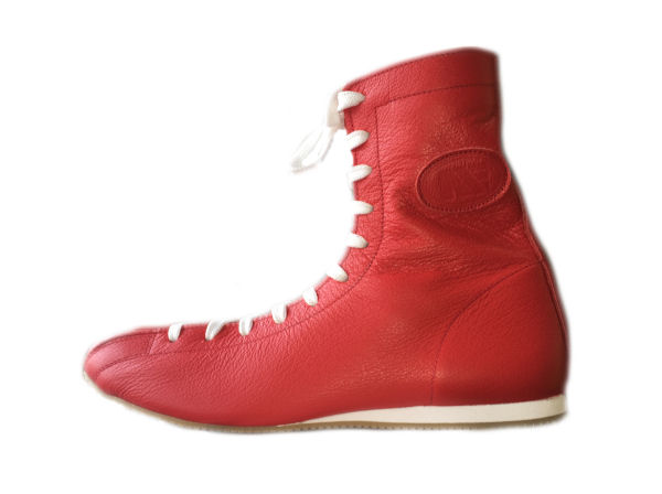 Shiv Naresh Teens Boxing Gloves 12oz: Main Event Tyson Old Skool Retro Boxing Boots Red Leather